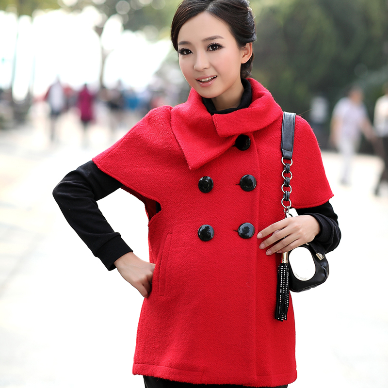 DX-1068, Maternity clothing winter fashion turn-down collar short-sleeve woolen overcoat maternity overcoat,FREE SHIPPING