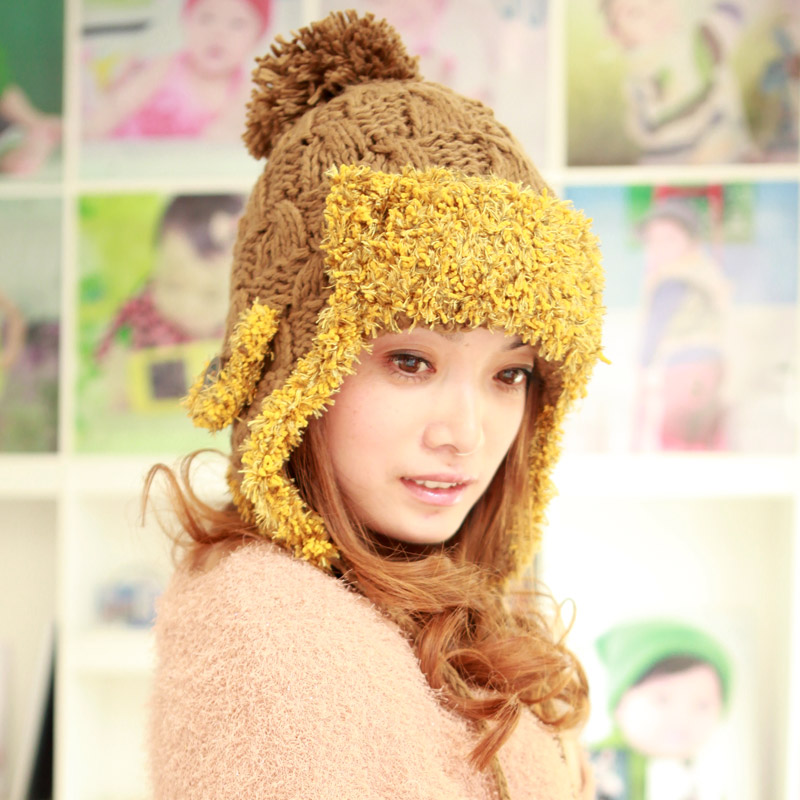 Ear protector cap hat macrospheric female autumn and winter thermal knitted hat knitted hat female