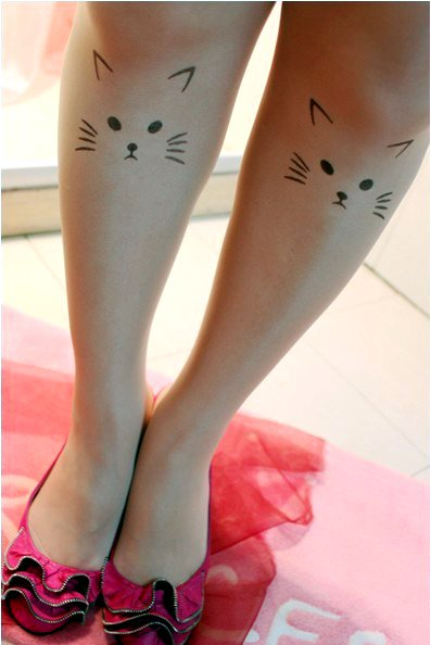 East Knitting CQ-005 Fashion 2013 Women Cat Tattoo 20D Tights Free Shipping Wholesale 6pc/lot