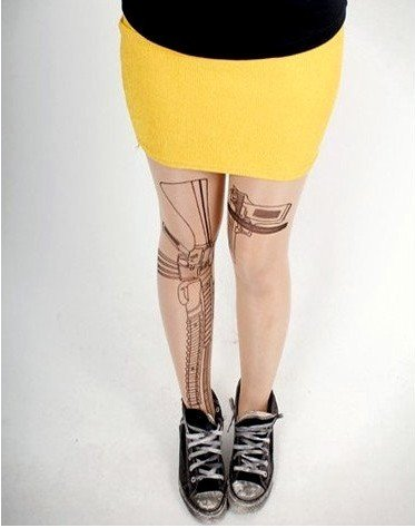 East Knitting FREE SHIPPING CQ-008 Fashion 2012 New Style Women/Lady Gun Tattoo Printing Leggings Tights Hot Slaew