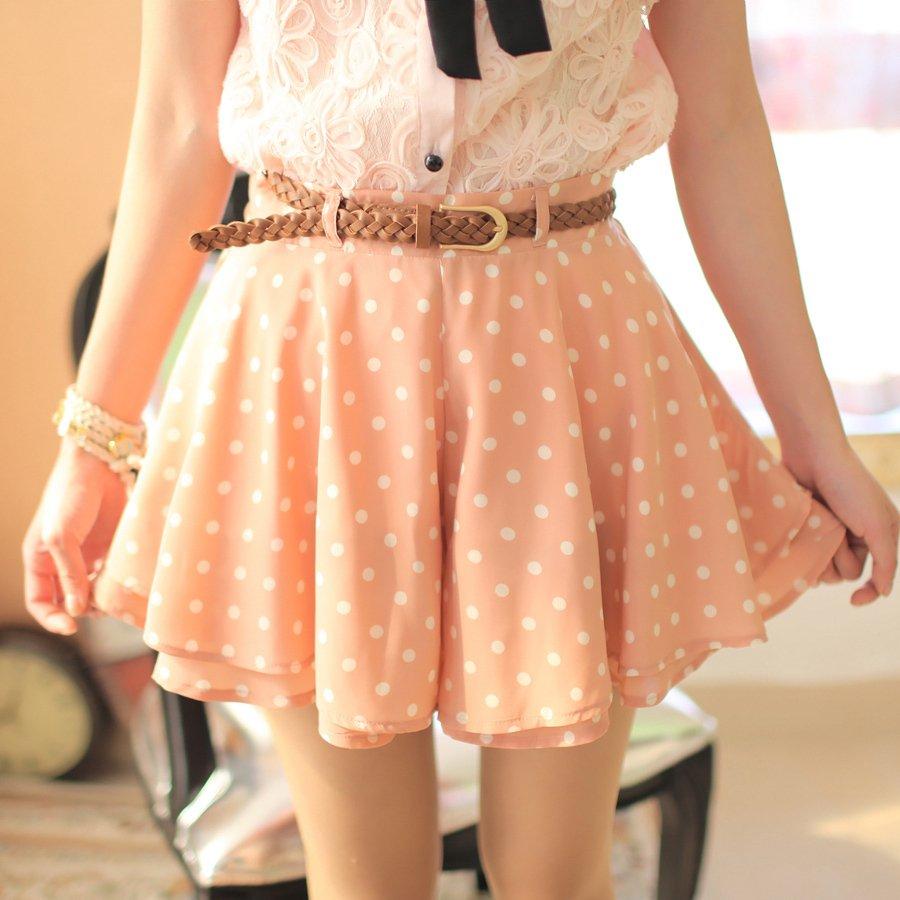 Eat Pray Love  Free Shipping, ruffle sweet Women summer half-length skirts vintage polka dot chiffon skirt pants