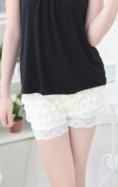 eight layers lace shorts/anti-emptied