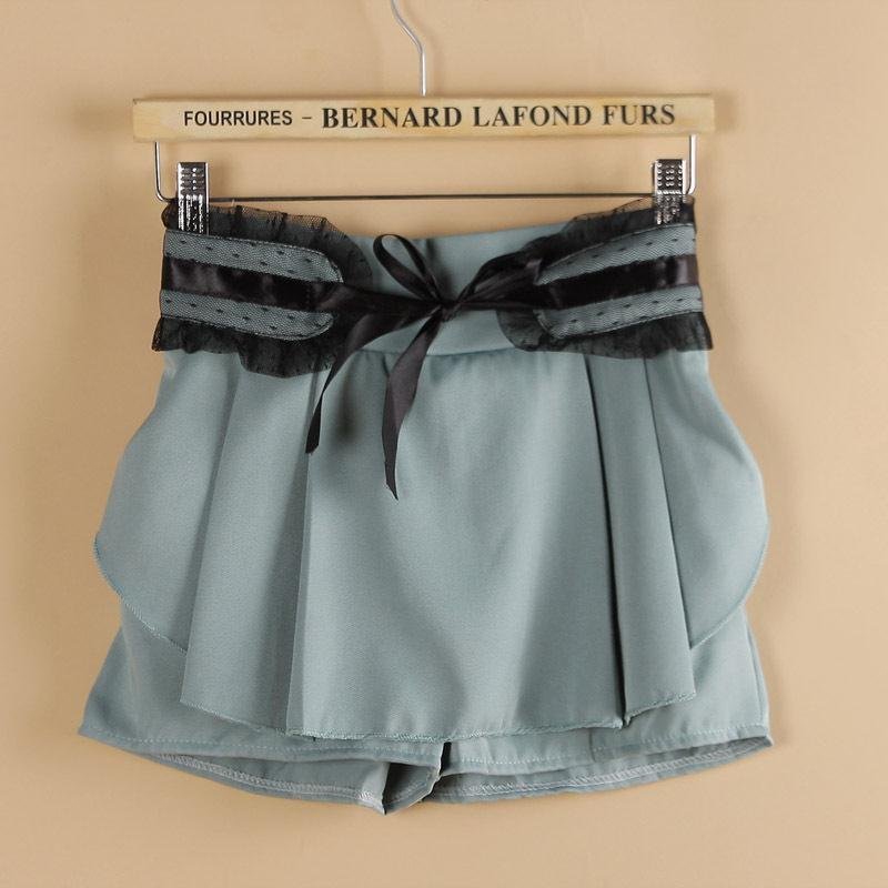 Elastic waist pleated lace lacing shorts casual shorts 2012 women's