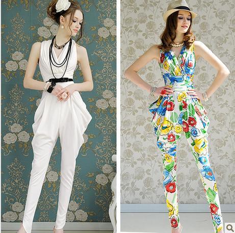 Elegant Fold High Waist Haren Jumpsuits Rompers,Europe Qualities Jumpsuit Women,White Navy Floral Size S-XL