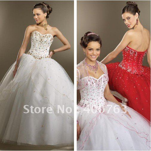 Elegant Gown Ballgown Sweetheart Gold beads Embellished Organza White Quinceanera Dresses