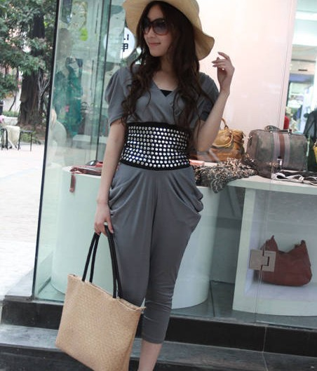 Elegant Lady Stylish Rivets Sashes Embellished V-Neck Jumpsuit Deep Grey