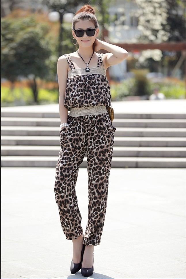 Elegant Sexy Leopard Sleeveless Catsuit Jumpsuit Fashion Women Ladies Summer Cotton Blends Spaghetti Strap Long Romper Jumpsuit