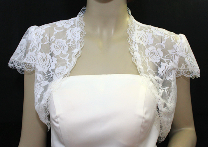 Elegant Short Sleeve Lace Wedding Wrap Evening Jacket And Wrap LYR-PJ0013 Free Shipping