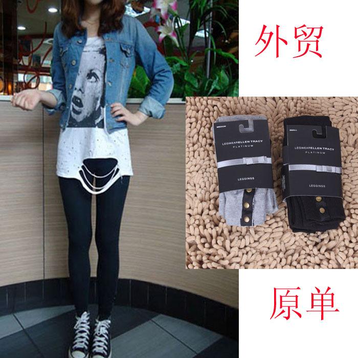 Ellen tracy fashion elastic slim legging black grey buckle all-match stockings