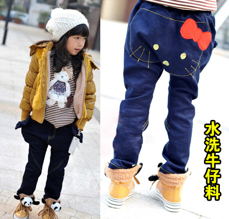EMS/DHL ship 2013 new kids denim pants for boys and girls hello kitty jeans for children clothing