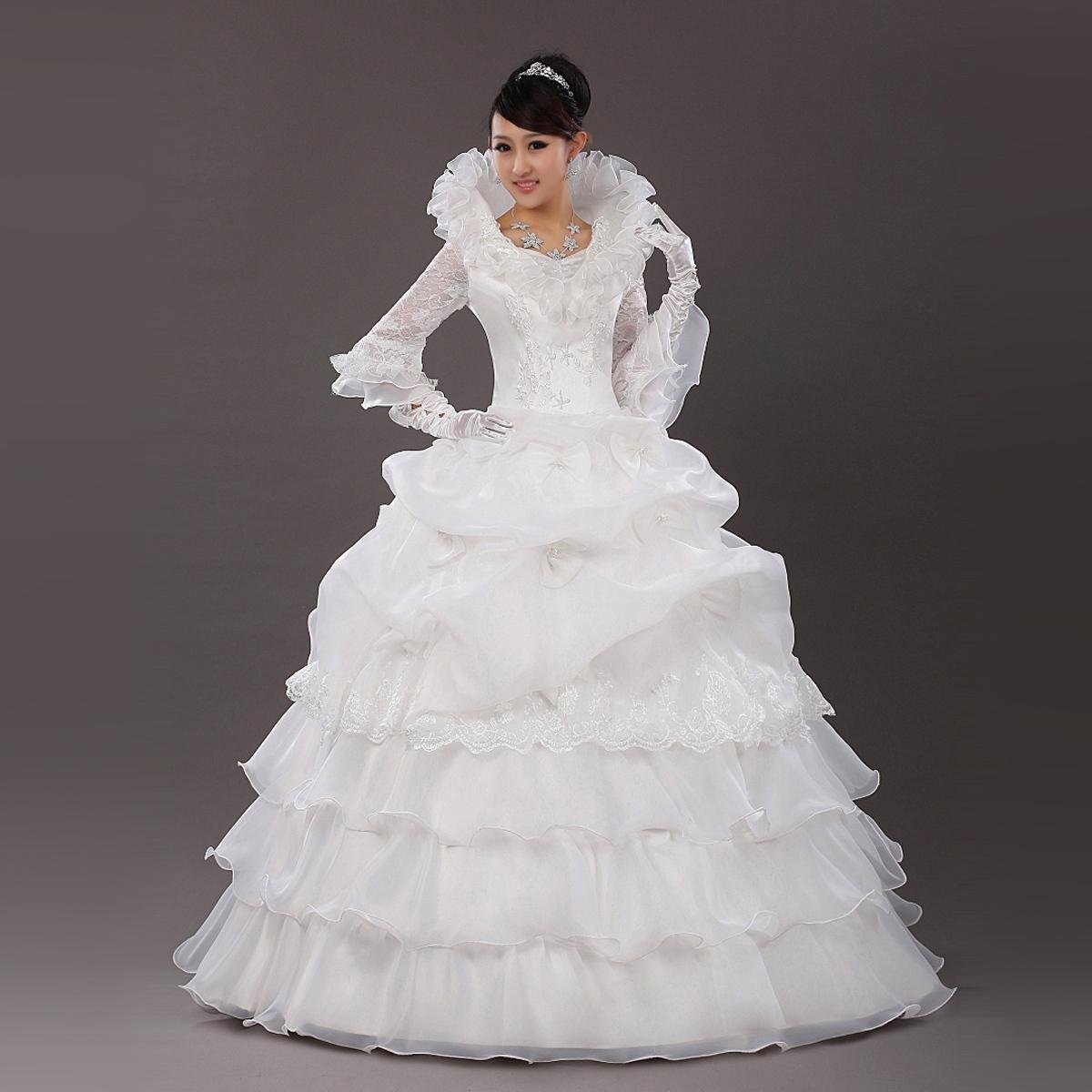 Turtleneck Wedding Gown: EMS FREE SHIPPING Fashion Wedding Dress Long-sleeve Lace