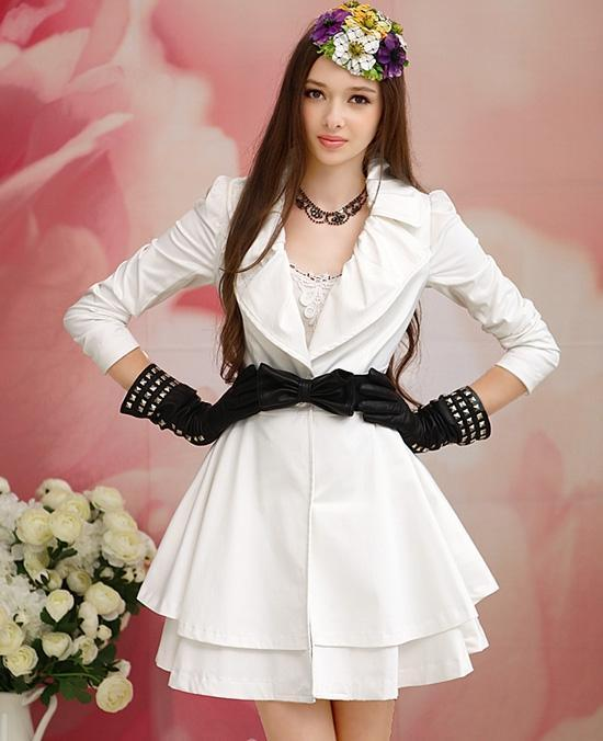 EMS Free shipping Pink large dolls 2012 white large lapel slim waist double layer large skirt long-sleeve trench