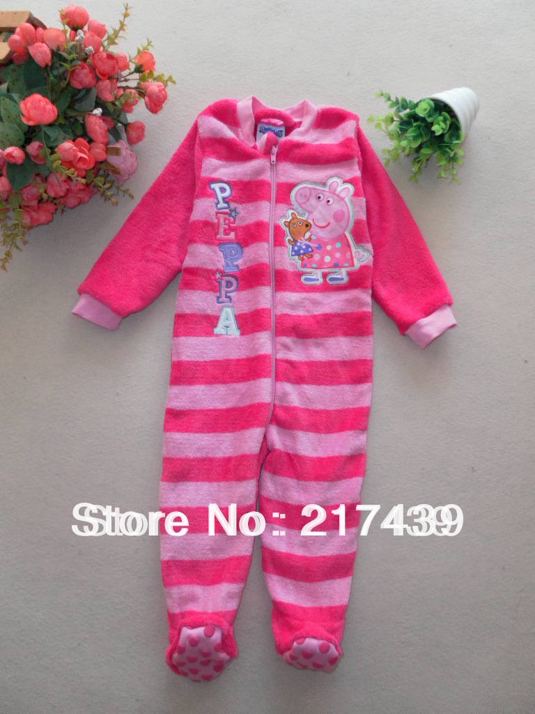 EMS Free Shipping to Australia and NZD! NEW Peppa Pig pink Striped girl romper sleepsuit pajamas all in one many sizes