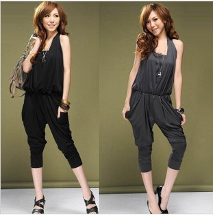 Europe and the United States big style trend hanging neck wipe haroun pants jumpsuits conjoined at the chest   free shipping P5