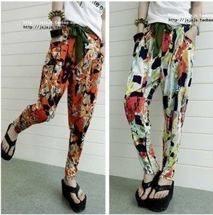 Europe and the United States relaxed drape retro print harem pants