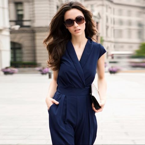 Europe and the United States sexy deep V-neck high  waist pants jumpsuit Romper