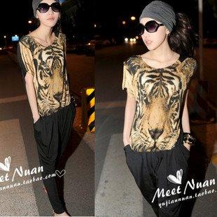 European style leopard stitching Slim piece pants original single piece pants jumpsuit