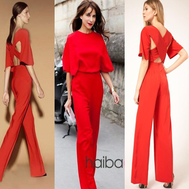 European style women fashion sexy backless romper jumpsuits wide leg pants,free shipping