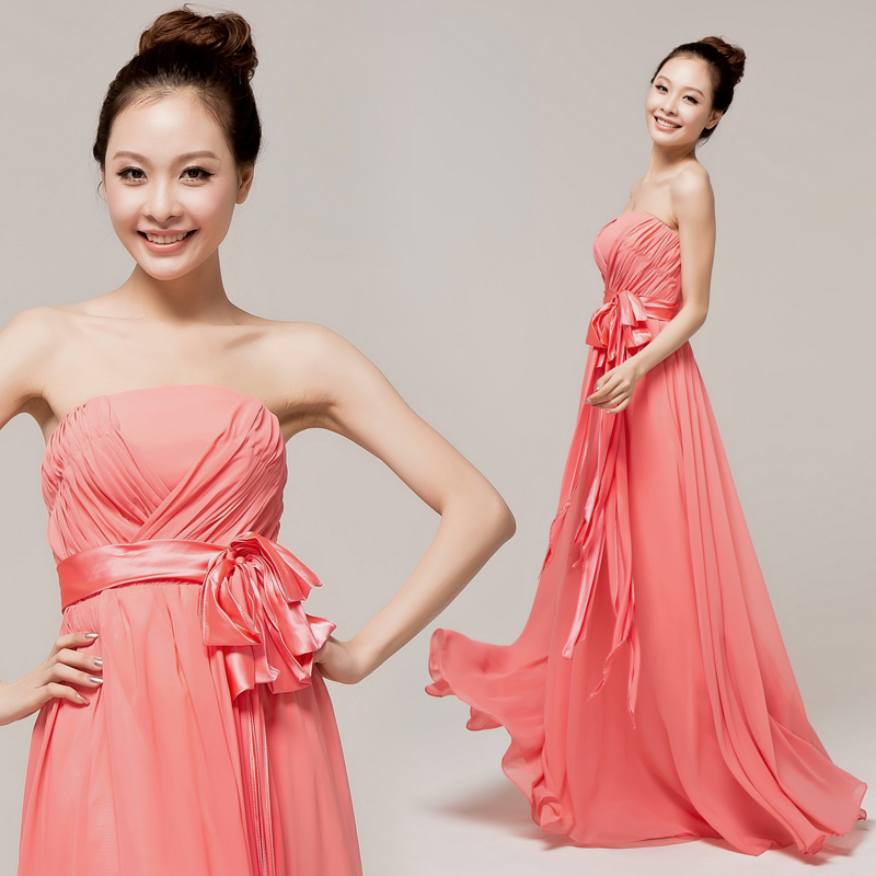 Evening dress bride married dinner party evening dress pink banquet evening dress autumn and winter long design