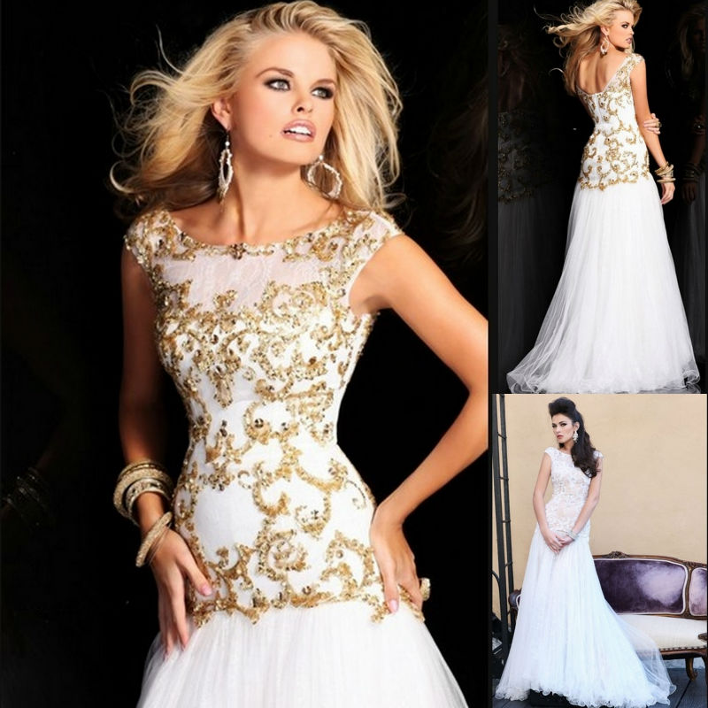 evening long 2013 prom dress scoop cape sleeve a line gold sequin white tulle floor length modest dresses