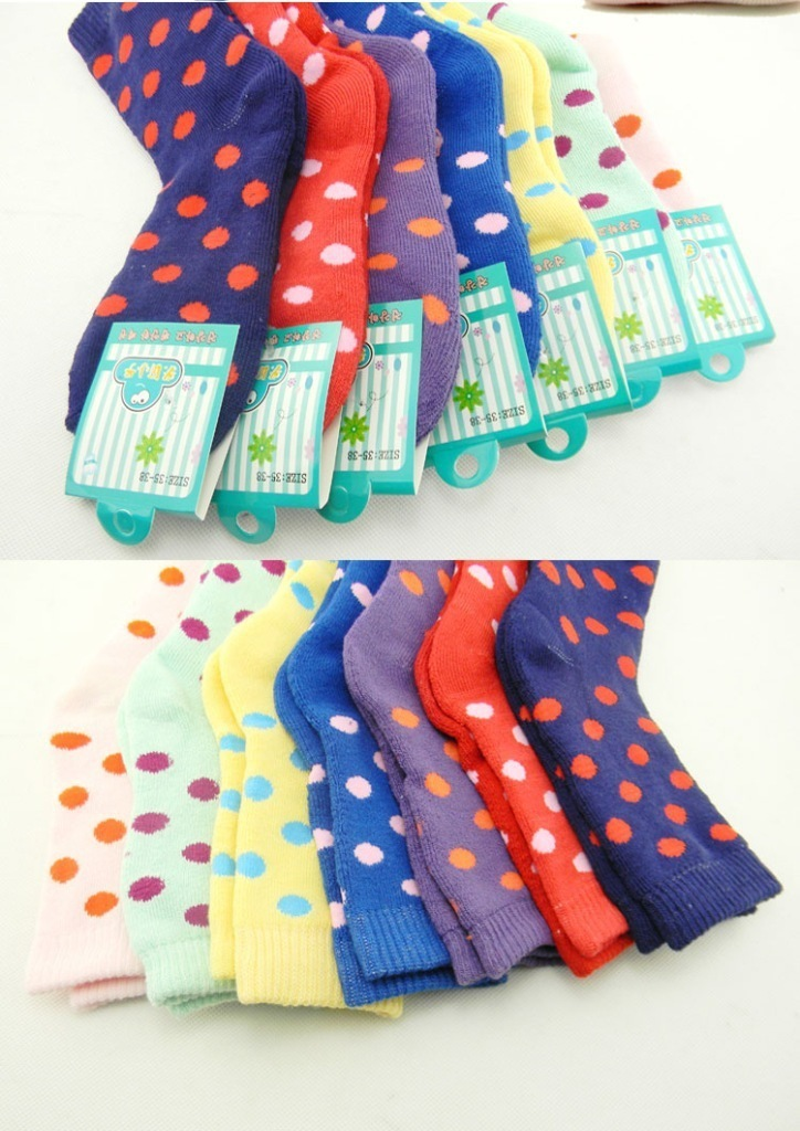 F04411-5 Hot Sale 5 Pairs Polka Dots Warm Cotton Towel Socks for Women Ladies+free shipping