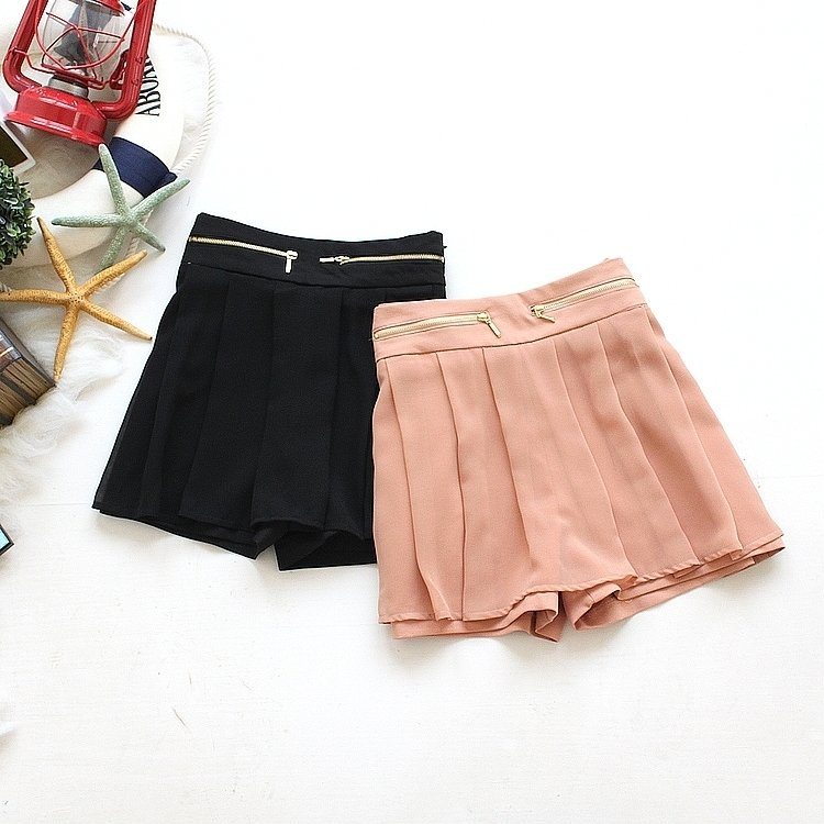 F2-3 spring 2012 gentlewomen zipper decoration chiffon ruffle women's skirt shorts