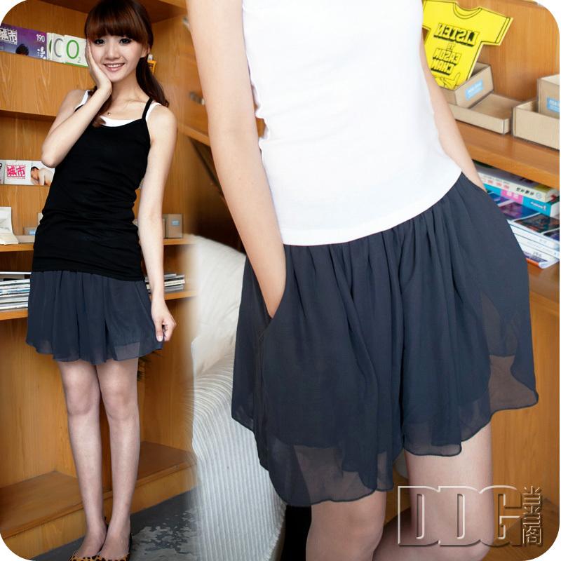 F2052 female chiffon double layer shorts skirt shorts plus size culottes