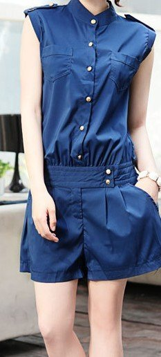 Fabric Chiffon Georgette style ladies style Jumpsuit pants type straight tube type long pants shorts black color, Blue Sz S, M