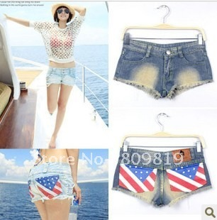 factory provide Fashion London street flag light color  sexy shorts pants women hot pants