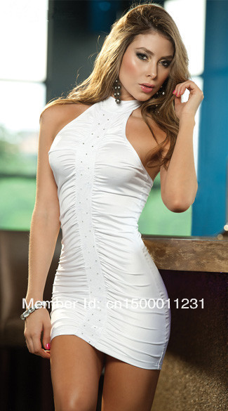 Fahion Style Free Shipping ML17732 Ruched Front Sleeveless Halter Back Slim Sexy White Banquet Dresses