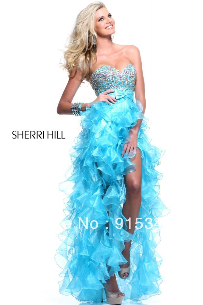 Fancy New Style Sweetheart Beaded Bodice Blue Organza Prom High Low Dresses