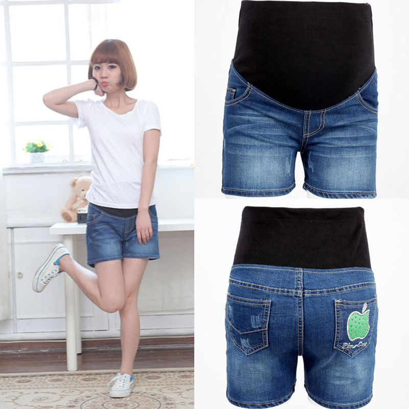 Fashion 100% cotton maternity belly pants denim short trousers shorts summer adjustable