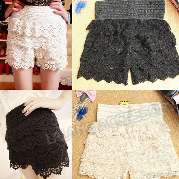 Fashion 1piece/lot Mini Cotton Blended Korean Womens Sweet Cute Crochet Tiered Lace Shorts Skorts Pants 2 colors 650520