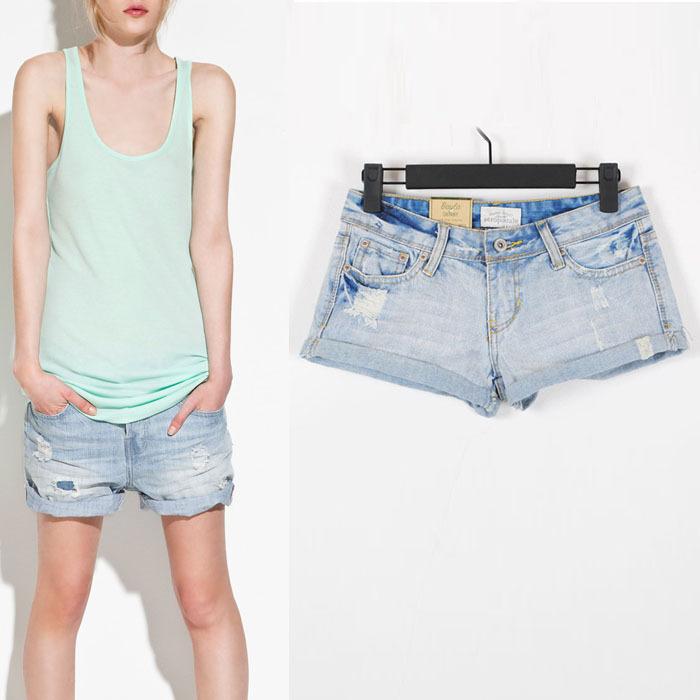 Fashion 2012 summer shorts water wash distrressed denim shorts retro finishing roll-up hem female
