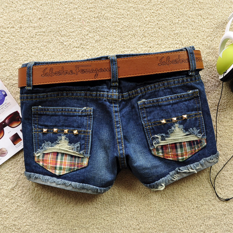 Fashion 2013 Summer Rivet Ornament Women Shorts Hole Blue Denim Shorts free shipping