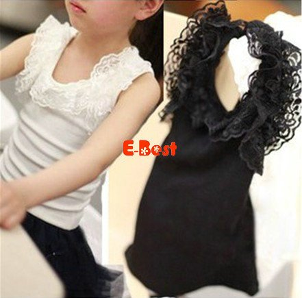 Fashion!5pcs/lot baby girl lace lace vest elastic cotton t-shirt kids pretty sun-top children sleeveless t-shirt  lace tanks