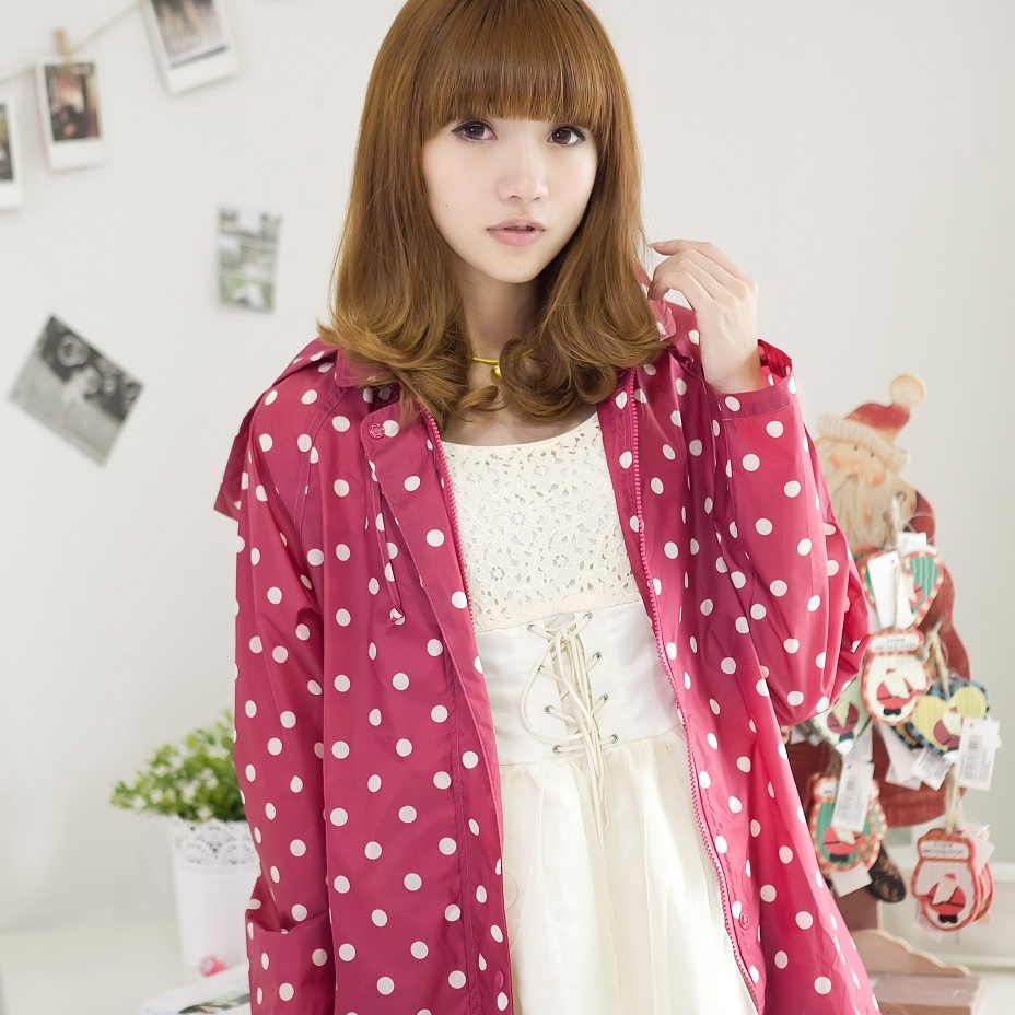 Fashion adult raincoat poncho trench poncho red sole white polka dot