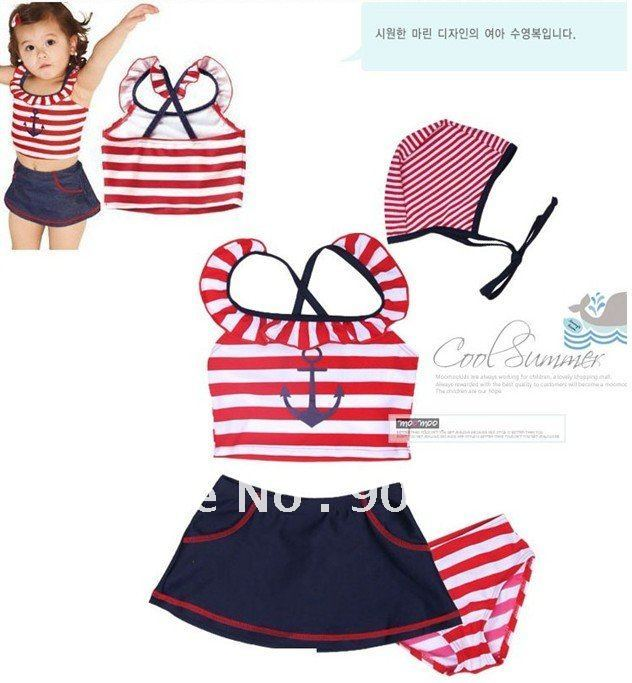 Fashion baby swimwear \ girl's bathing suit \ lovely kid's red stripe sailor swimming suit