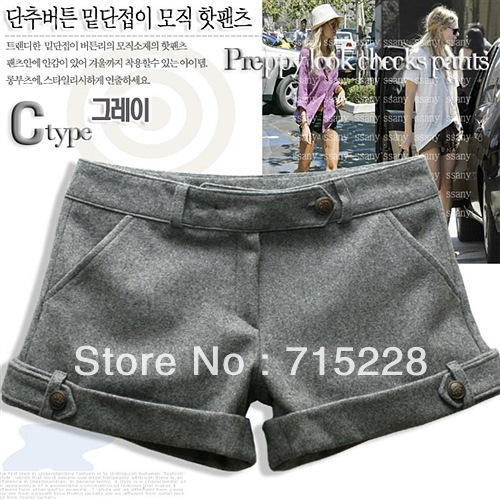 Fashion casual woolen shorts black , gray 2 colors factory direct Free shipping Wholesale