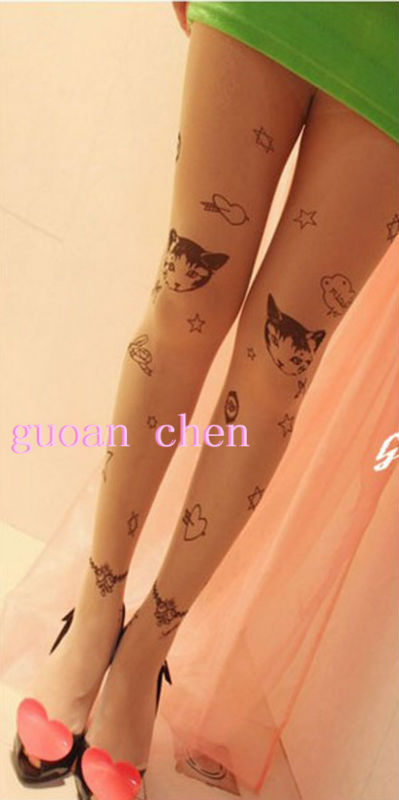 Fashion Cat Wing Transparent Tattoo Tights Leggings Pantyhose Stockings Wholesale