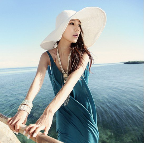Fashion Chic Womens Ladies Wide Large Brim Summer Beach Sun Hat Straw Derby Cap