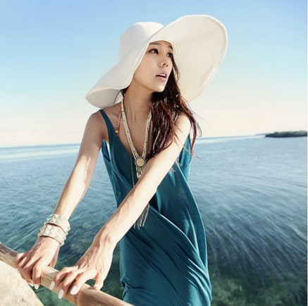 Fashion Chic Womens Ladies Wide Large Brim Summer Beach Sun Hat Straw Derby Cap