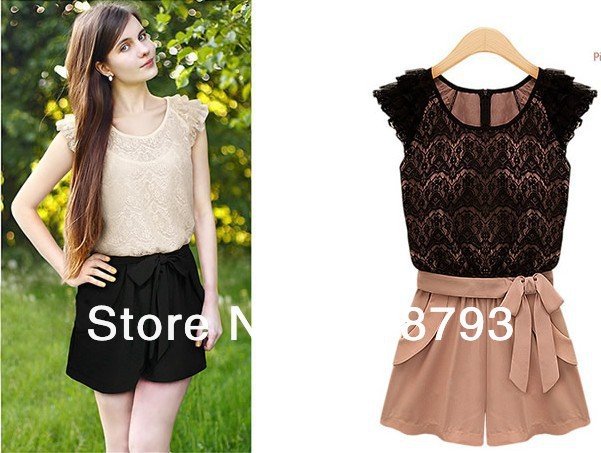 Fashion Chiffon 2013 Lace Ruffle Sleeve Round Collor Jumpsuits Overall Women Shorts S / M / XL / XL + Free Shipping