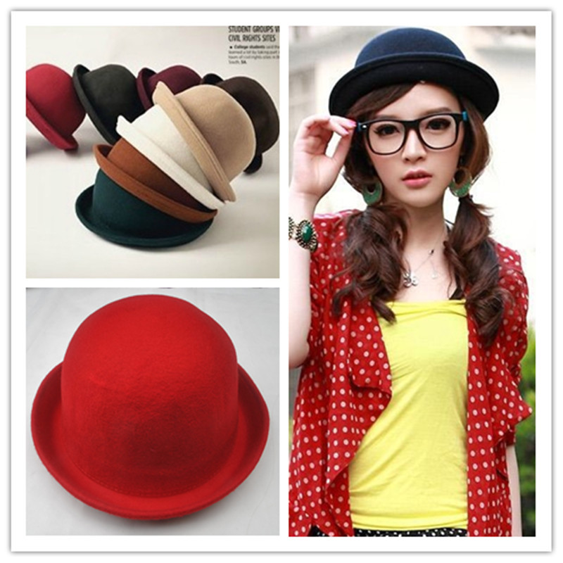 Fashion Cute dome wool small fedoras woolen roll up hem small round cashmere hat jazz hat multi-color free shipping