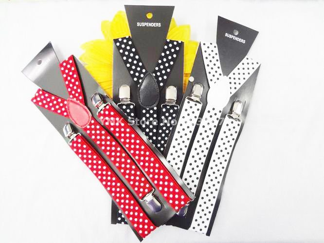 Fashion Dots Printed Suspender For Men/Women,2.5CM Wide Elastic Straps,10PCS/LOT mix colors,Free Shipping