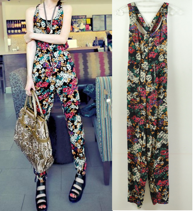 Fashion Flowerier multicolour Harnesses Jumpsuits Free shipping