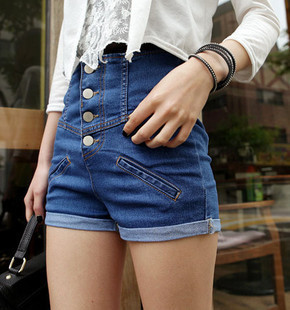 Fashion High Waist Denim Shorts Buckle Roll-up Hem Shorts  Free Shipping 3010301