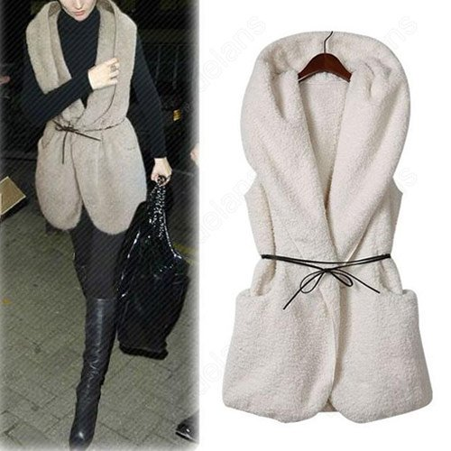 Fashion Hollywood Women's Oversized Thick Faux Fur Sheepskin Hooded Vintage Vest Coat with Belt 31376