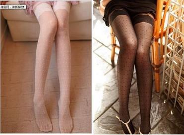 Fashion Lace Cute Dot Diamond Lattice Tights Pantyhose Stockings Free Shipping