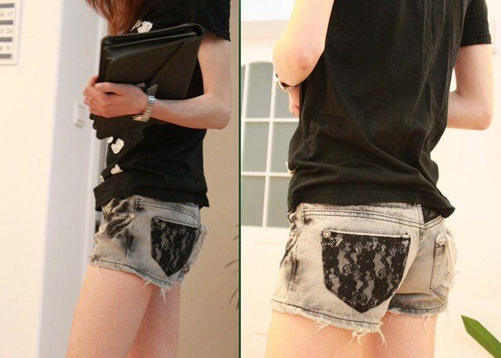 Fashion Lady Roll Up Shorts Women's Hole Jeans Hot Sale Ladies Denim Pants Jeans Shorts Free Shipping